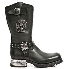 New Rock M.MR030-S1 Black Western Cowboy Gothic Biker Leather Boots Shoes