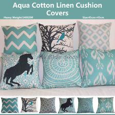 """Vintage Aqua Set Home Decor Linen CUSHION COVER PILLOW CASE 18"""""""