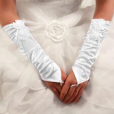 Gants Longs en Satin Bague à Fleur Perles ( Ivoire, Blanc ) Mariage Opéra