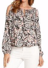 Karen Kane Rose Pink Floral Tie Neck Cold Shoulder Blouson Top - MSRP $98