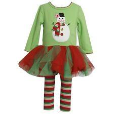 Bonnie Jean Baby Girl Christmas Snowman Tutu Dress Legging Outfit SZ 12 18 24 MO