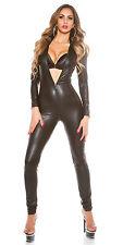 Ladies PVC Catsuit Faux Leather Spandex Bodysuit Jumpsuit Clubwear Dress Sexy