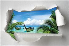 Sticker Trompe l'oeil papier déchiré déco Barque palmier réf 1383