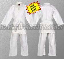 Free Belt Size 3 4 and 5 Special Bundle Judo Uniform White Single Weave 450GM