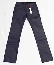 Jeans enduit laqué bleu marine foncé I CODE by IKKS  femme regular  taille haute