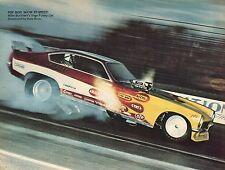 1973 Great Magazine Pic of Mike Burkhart Chevrolet Chevy Vega Funny Car