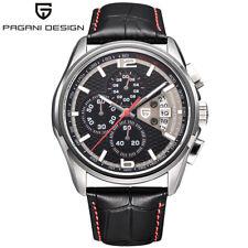 PAGANI DESIGN Date Chronograph Waterproof Leather Band Mens Military Wrist Watch