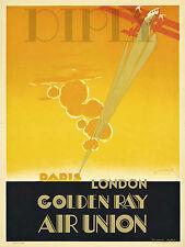 PLAQUE ALU DECO AFFICHE AVION PARIS LONDON GOLDEN RAY AIR UNION PLANE SUN