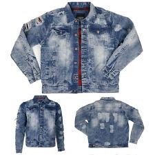 Copper Rivet Men's Destroyed Light Blue Denim Jacket M~2XL