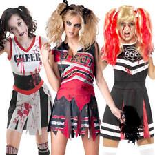 Halloween Cheerleaders Womens Fancy Dress Zombie Undead Horror Adult Costume New