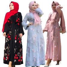 Vintage Women Flower Long Dress Muslim Abaya Dubai Kimono Jilbab Maxi Robe Gowns