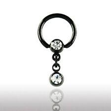SCHWARZ Intim PIERCING Ring 6mm Kristallkugel Ohr Brust Kritoris Ring KLAR