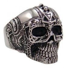 US Seller Men's Silver Stainless Steel Skull Biker Ring Size 8-15 SR46
