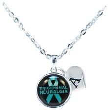 Custom Trigeminal Neuralgia Awareness Teal Ribbon Necklace Jewelry Initial