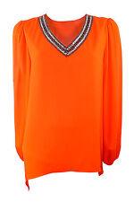 Marina Kaneva Plus Size Orange Crepe Top with V neck & Dip Hem at Sides