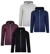Smith & Jones New Men's Hooded Zip Up Sweatshirt Hoodies Plain Top 2-Pack