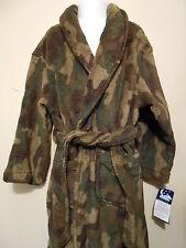 Joe Boxer Camouflage Boys Plush Fleece Wrap Robe Gray Olive XS/4-5 NWT