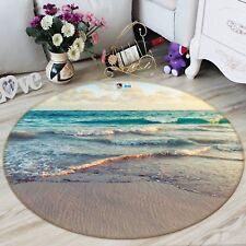 3D Clear Beach 9 Non Slip Rug Mat Room Mat Round Quality Elegant Photo Carpet US