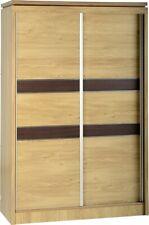 Oak 2 Sliding Door 2 Drawer (1 Locking) Wardrobe 121cm x 54cm x 192cm CHARLEY