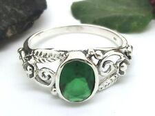 Romantischer 925 Silber Ring Zirkonia Grün Blumen Damen Steinring