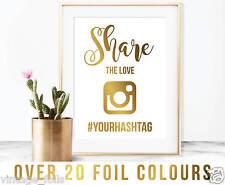 Condividi l'amore, Instagram Matrimonio segno, Hashtag, segno di condivisione di foto, stampa Mer