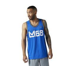[CE6709] New Men's REEBOK LM Les Mills Mesh Basketball Tank Top - Vital Blue