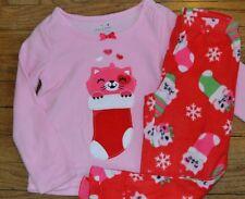 Pink Cat in Stocking Jumping Beans Fleece Sleepwear Pajamas Set Flame Resistant