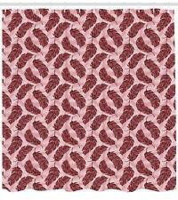 Arabesque Feather Pattern Shower Curtain Fabric Decor Set with Hooks 4 Sizes