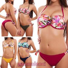 Bikini donna costume da bagno brasiliana push up mare slip fiori nuovo SE88628-1