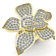Flower Fancy Engagement Ring 18K Gold 1ctw Round Cut Diamond Ladies Cluster