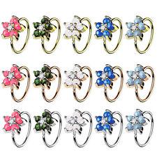 Nasenpiercing Ohr Universal Tragus Helix Cartilage Ring mit Opal Blumen Blüte