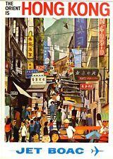 Vintage BOAC Flights to Hong Kong  Poster  A3/A2 Print