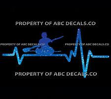 VRS Heart Beat Line Kayak Kayaking Paddle Sea Ocean River Male CAR METAL DECAL