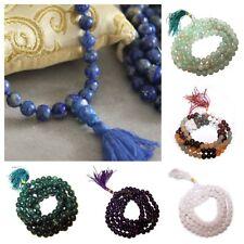 Crystal Gemstone Mala 108 Prayer Beads - Hindu Buddhist Mantra Chanting Bracelet