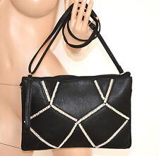BORSELLO NERO donna BORSA pelle CRISTALLI pochette elegante clutch bag sac 970