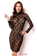 Sexy ABITO NERO PIZZO taglia M, L (42,44) vestito donna GLAMOUR chic