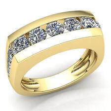 2Ct Natural Round Cut Diamond Mens Channel Set Anniversary Wedding Band 14k Gold