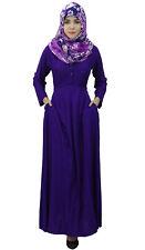 Bimba Women's Long Sleeve Muslim Islamic Abayas Pleated Maxi Jilbab Dress With H