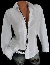 Weiße Damenbluse Romantik bestickt Langarm Schleife Baumwolle Bluse 34 36 38 40
