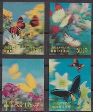 BHUTAN , FOUR 3-D STAMPS BUTTERFLIES 1968 VF MNH