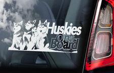 Huskies on Board - Car Window Sticker - Siberian Husky Sled Dog Sign Decal - V02