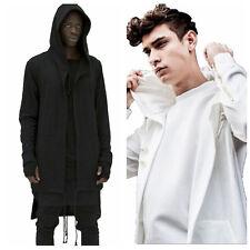 Hot Men's Hipster Long Line Hip Hop Zipper Hoodie Sweatshirts Jacket Pullover G