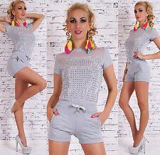 Sexy JUMPSUIT Hot Pants OVERALL Catsuit mit Strass Nieten 34 36 38 40