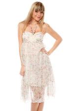 Womens Rose Pattern & Brooch Midi Tiered Sleeveless Chiffon Ditsy Print Dress