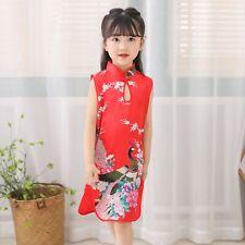 Chinese Childrens Girls China Red Oriental Peacock Qipao Cheongsam Dress gcd11