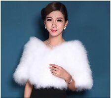 New Women's Real Genuine Ostrich Fur Wedding Garment Cape Stole Wrap Hot