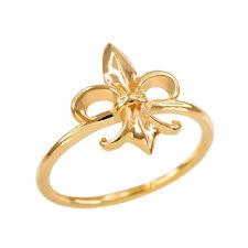 Fine Women's 10k Dainty Yellow Gold Fleur-de-Lis Ring Lily of France