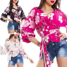 Blusa donna top incrociato floreale portafoglio maniche arricciate nuovo AS-3101