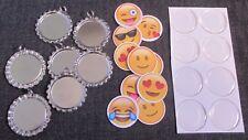 DIY KIT of 7 Emoji Smile Faces Bottle Caps Bling Charms w/ Split Rings Covers