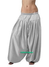Silver Satin Harem Yoga Pant Belly Dance Pantaloons Bombachos Aladdin Halloween